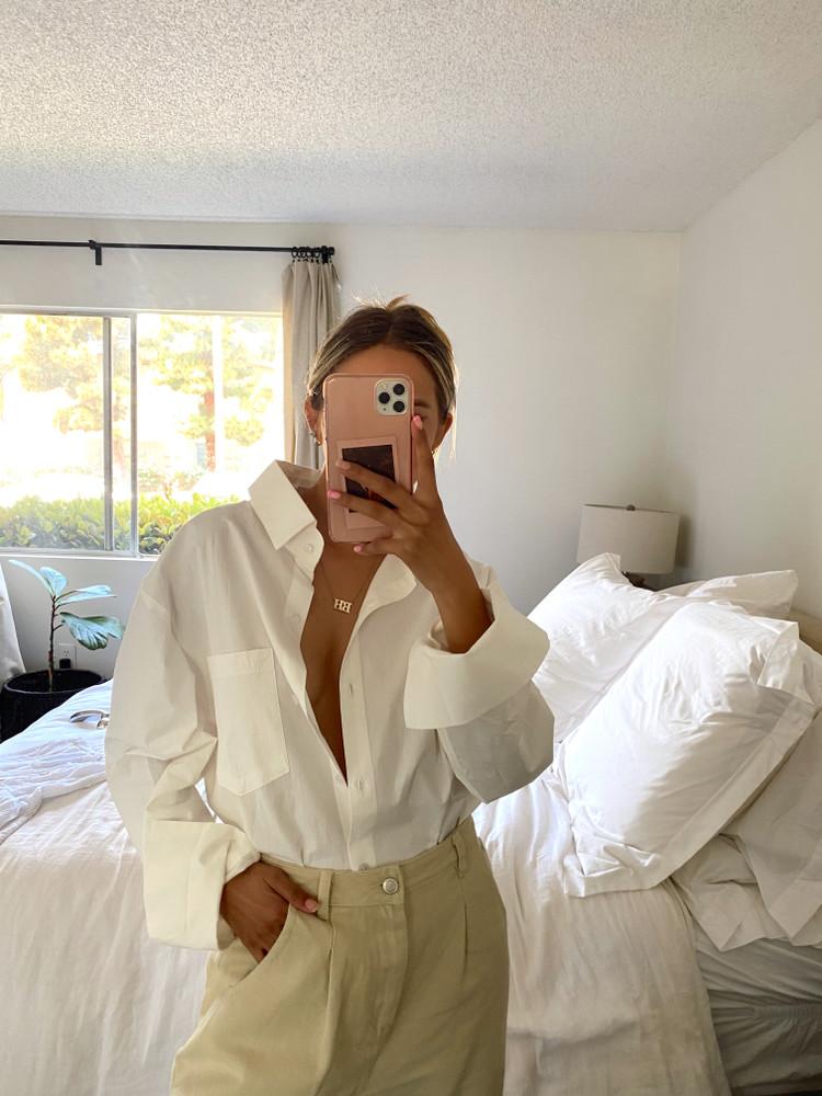CALIstyle Not Your Boyfriends Oversized Buttondown Shirt In White - RESTOCK