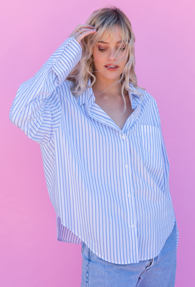 CALIstyle Not Your Boyfriends Oversized Button Down Stripe Shirt In Blue/White - RESTOCK