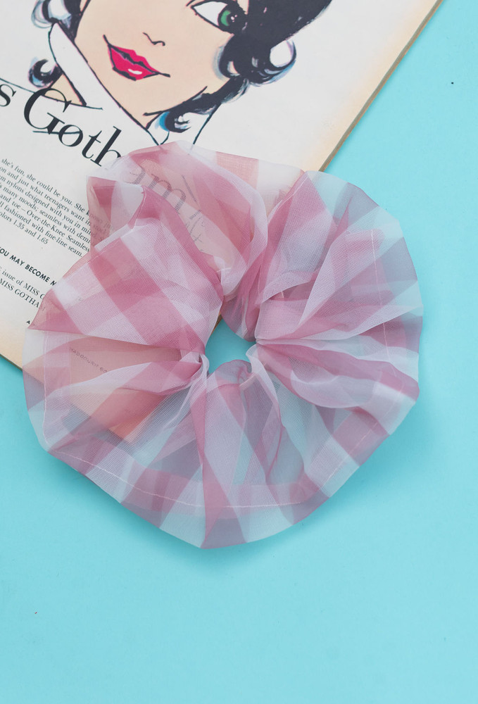 Check Me Out Scrunchie In Pink Gingham