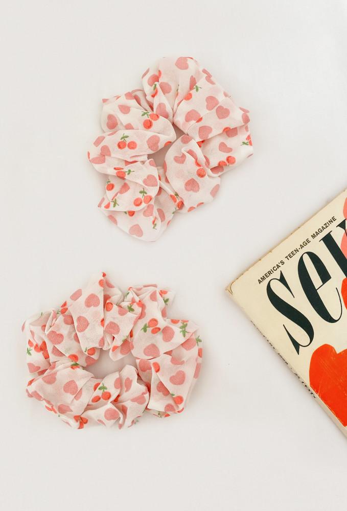 Girl Next Door Organza Scrunchie In Ivory/Cherry Print