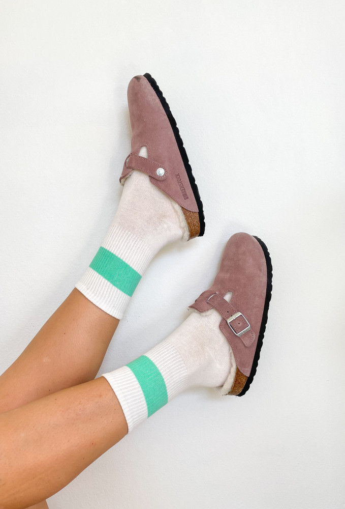 All About The Vibe Socks In Mint Green Stripe