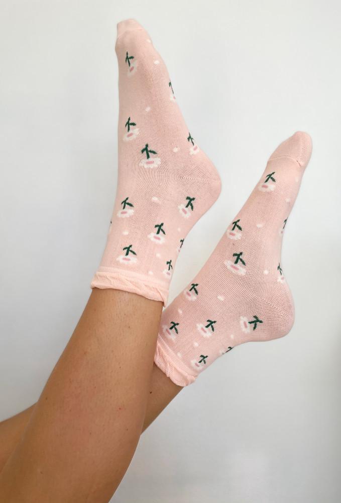 CALIstyle Full Bloom Socks In Pink Floral