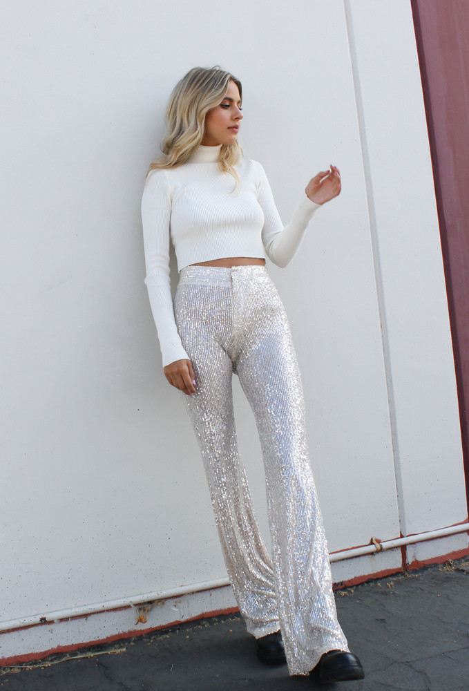 CALIstyle Sparkle All Night Sequin Flared Leg Pants In Champagne