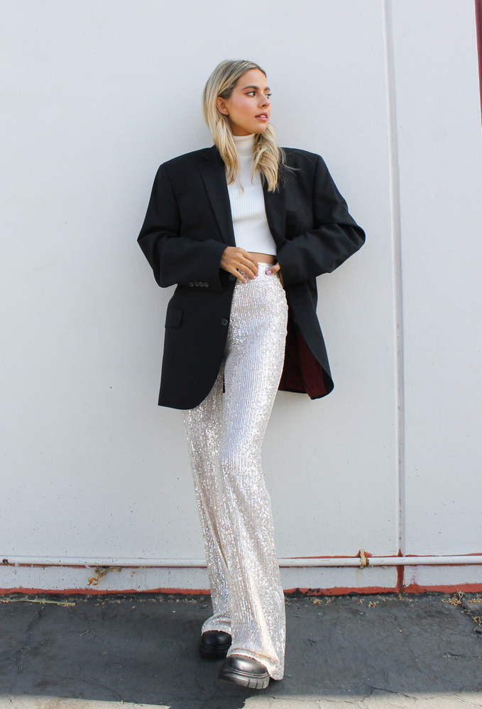 CALIstyle Sparkle All Night Sequin Trouser/Pant In Champagne - RESTOCK