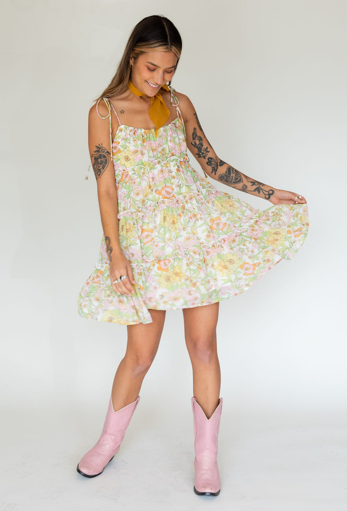 CALIstyle Golden Sunsets Baby Doll Dress In Lime/Pink Floral