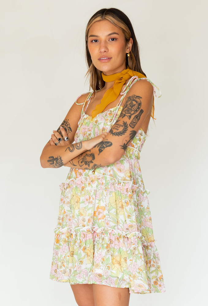 CALIstyle Golden Sunsets Baby Doll Dress In Lime/Pink Floral - RESTOCK