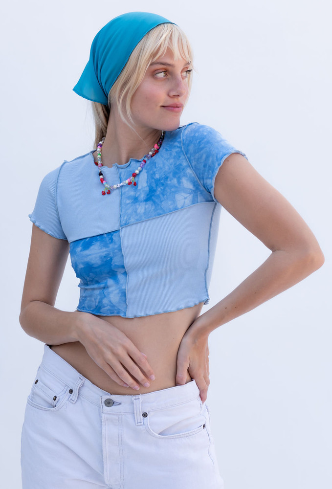 CALIstyle Stardust Exposed Seam Patchwork Crop Top In Blue