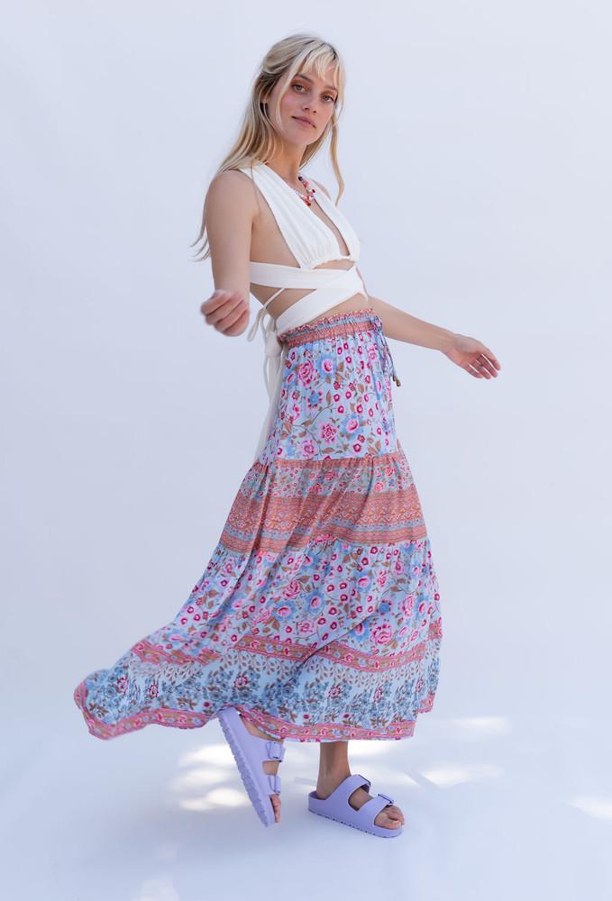 CALIstyle Malibu Midi Skirt In Aqua Floral