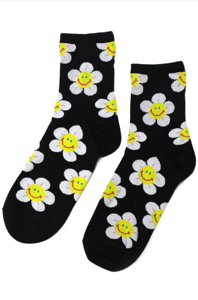 CALIstyle Flower Power Socks In Black