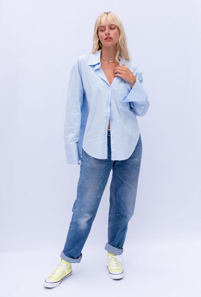CALIstyle Not Your Boyfriends Oversized Shirt In Blue  - RESTOCK
