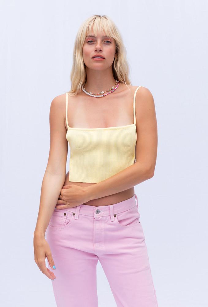 CALIstyle Whisper Knit Crop Top In Lemon