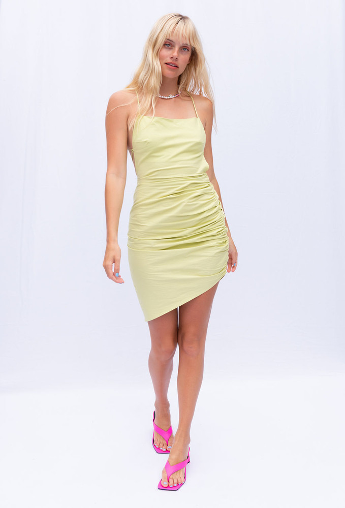 CALIstyle Head Turner Ruched Dress In Lime