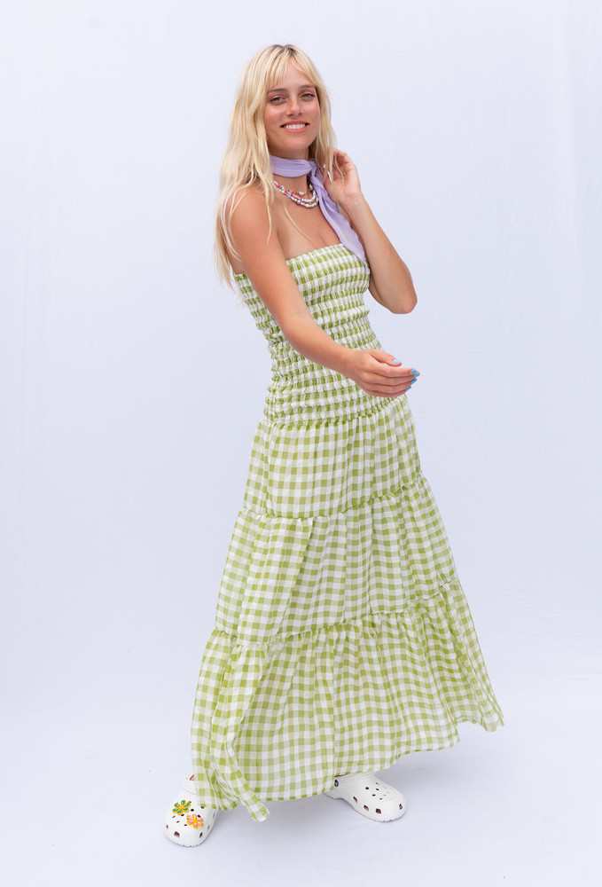 CALIstyle Brunch & Mimosa's Maxi Dress In Green Check