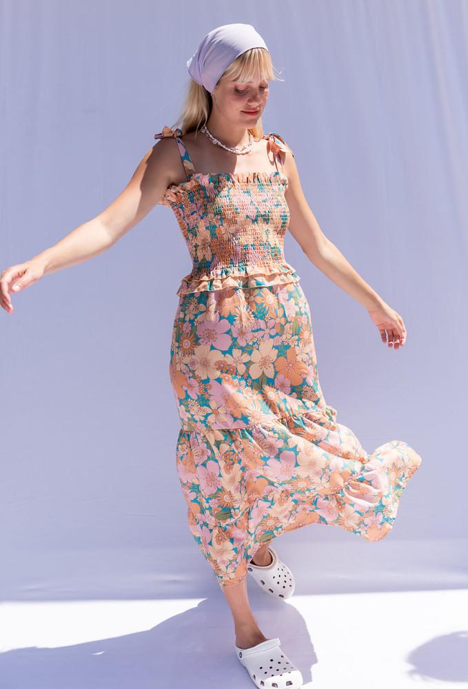 CALIstyle Tuscany Sun Midi Dress In Retro Floral