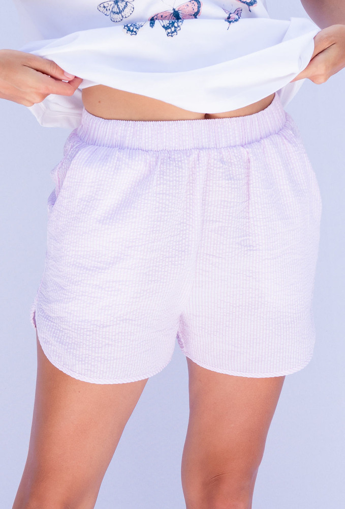 CALIstyle Poolside Shorts In Pink Stripe