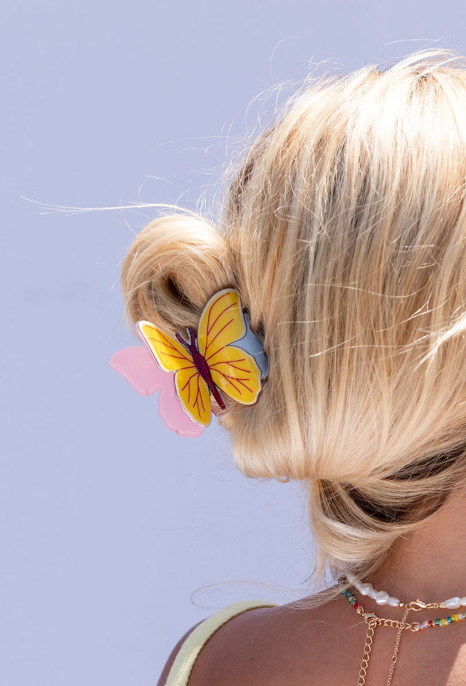 CALIstyle Monarch Butterfly Hair Clip/Claw In Yellow