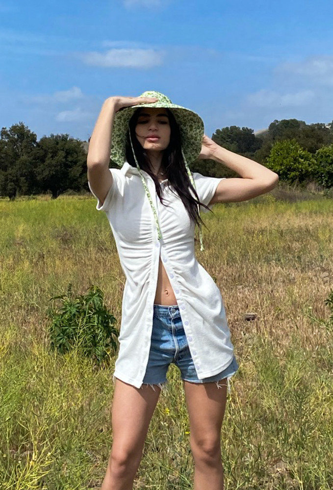 CALIstyle Summer Sun Ruched Terry Cloth Dress In White