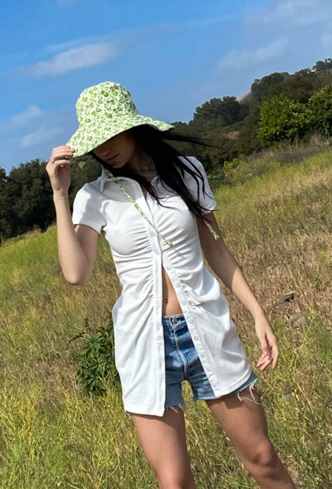 CALIstyle Summer Sun Ruched Dress In White Terry