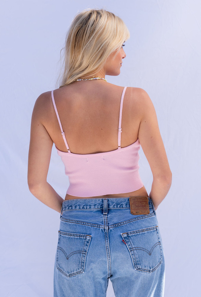 CALIstyle California Sky Knit Embroidered Cami In Pink - Restock