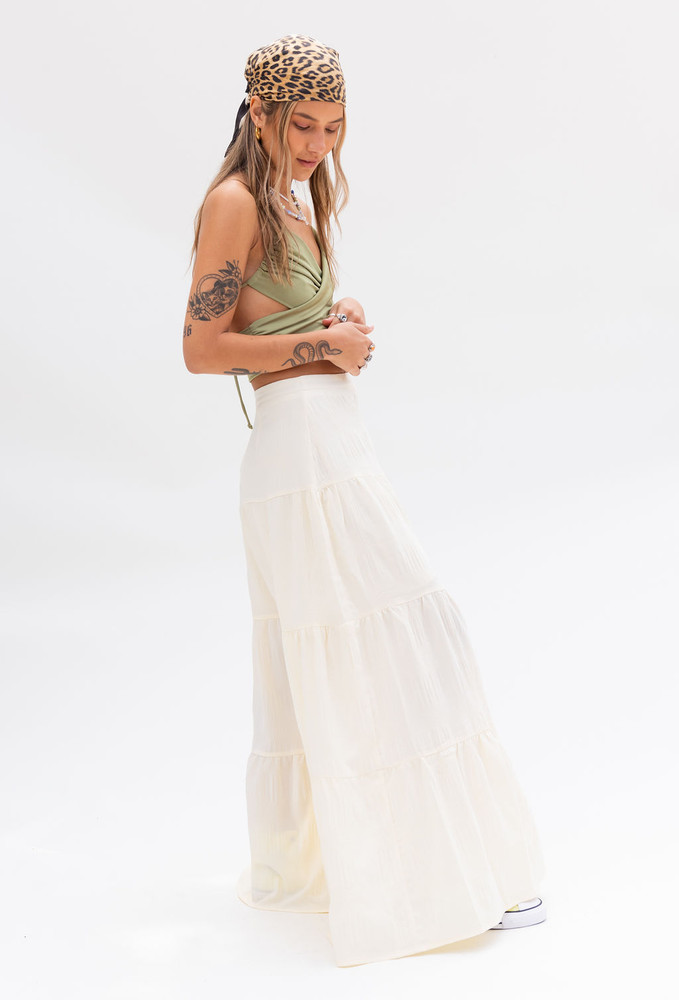 CALIstyle Riviera Maxi Skirt In Butter Cream