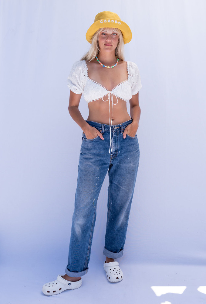 CALIstyle South Of France Eyelet  Crop Top In White