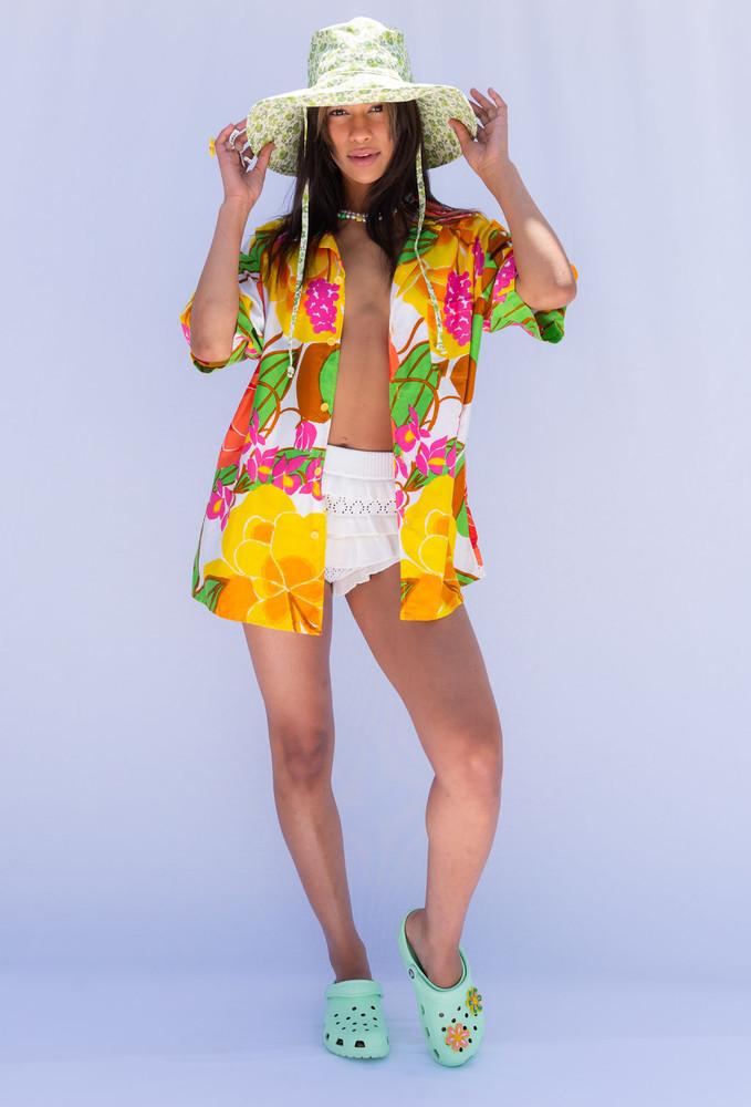 Vintage x Resurrection Hawaiian Oversized  Shirt In Vibrant Floral