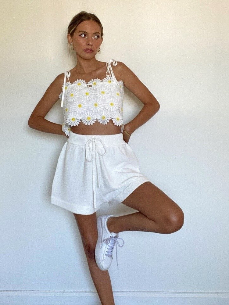 CALIstyle Take Me Away Knit Shorts In Ivory