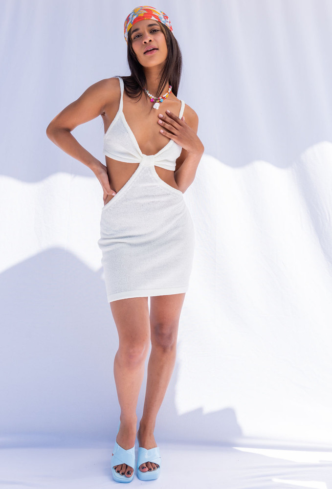 CALIstyle Venice In The Summer Cutout Knit Dress In Off White