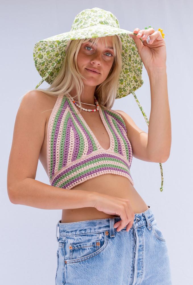 CALIstyle Shangra La Crochet Halter Crop Top In Sherbert/Green