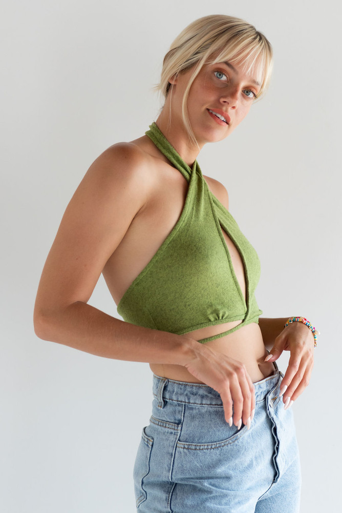 CALIstyle Nights Out Crop Top In Green