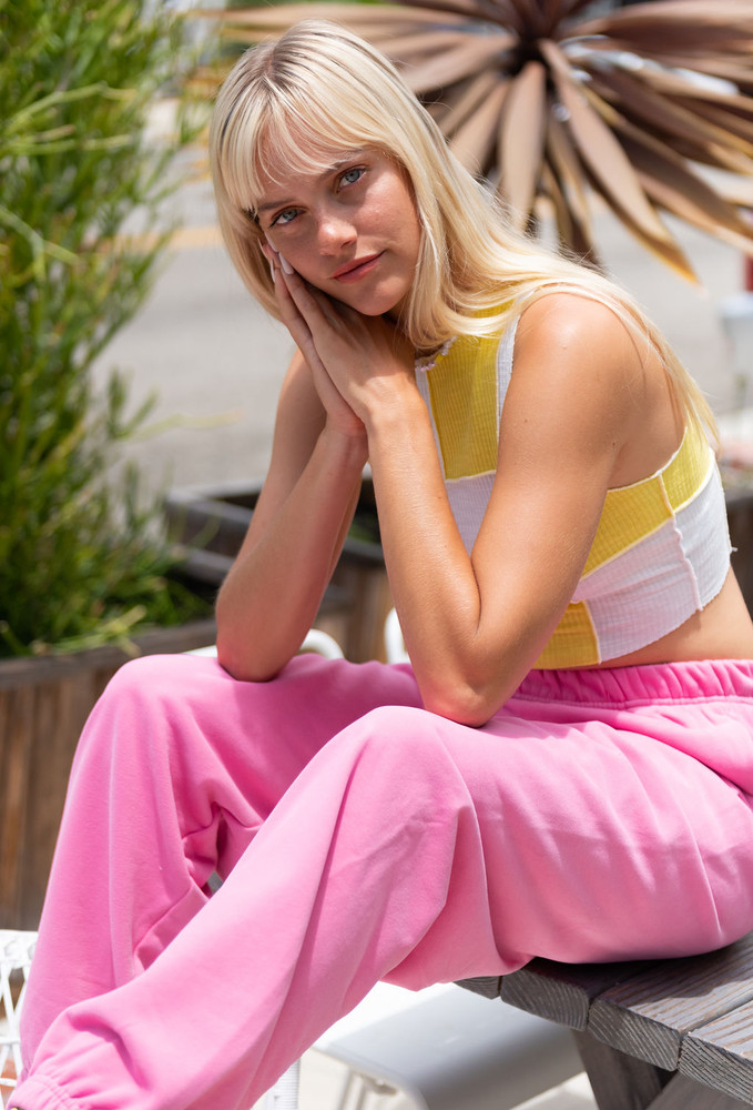 CALIstyle Color Pop Oversized Sweat Pant In Pink