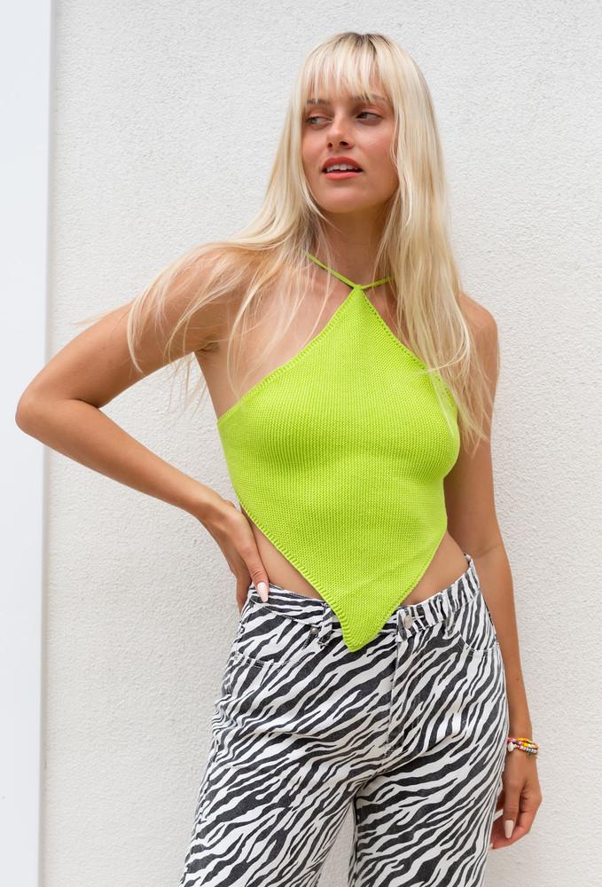 CALIstyle Jamaican Sun Crochet  Napkin Top In Neon Lime