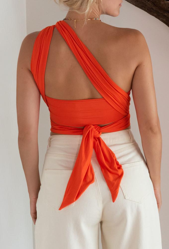 CALIstyle Endless Love Wrap Top In Orange - Restock!