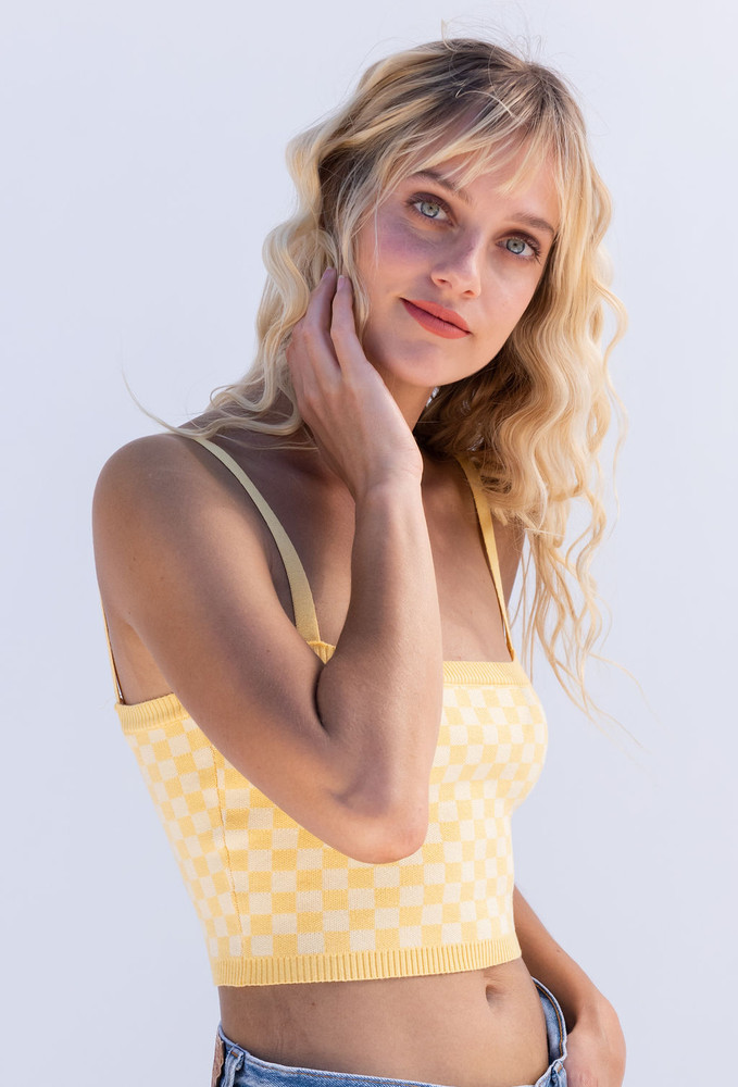 CALIstyle At Sunset Checked Crop Knit Top - Yellow