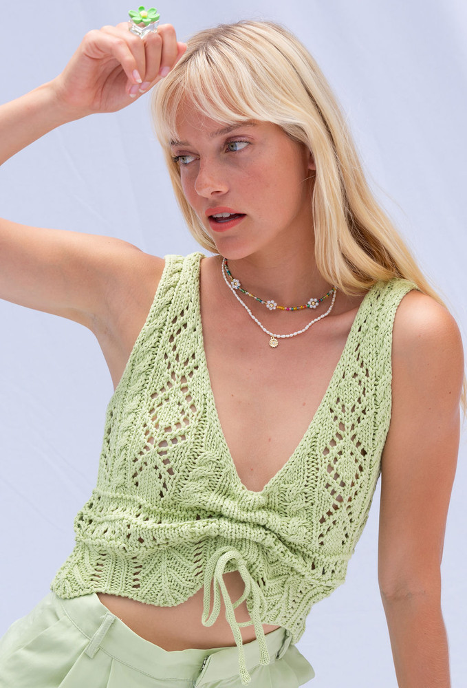 CALIstyle Crushing On You Crochet Ruched Top In Green