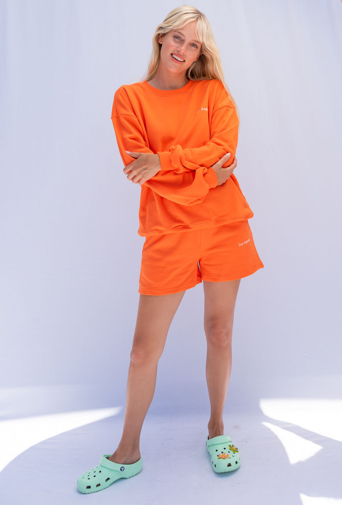 CALIstyle LA Girl Sweatshirt & Short Set In Citrus Orange