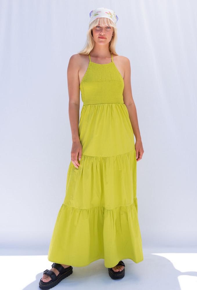 CALIstyle Montecito Maxi Dress In Kiwi Lime