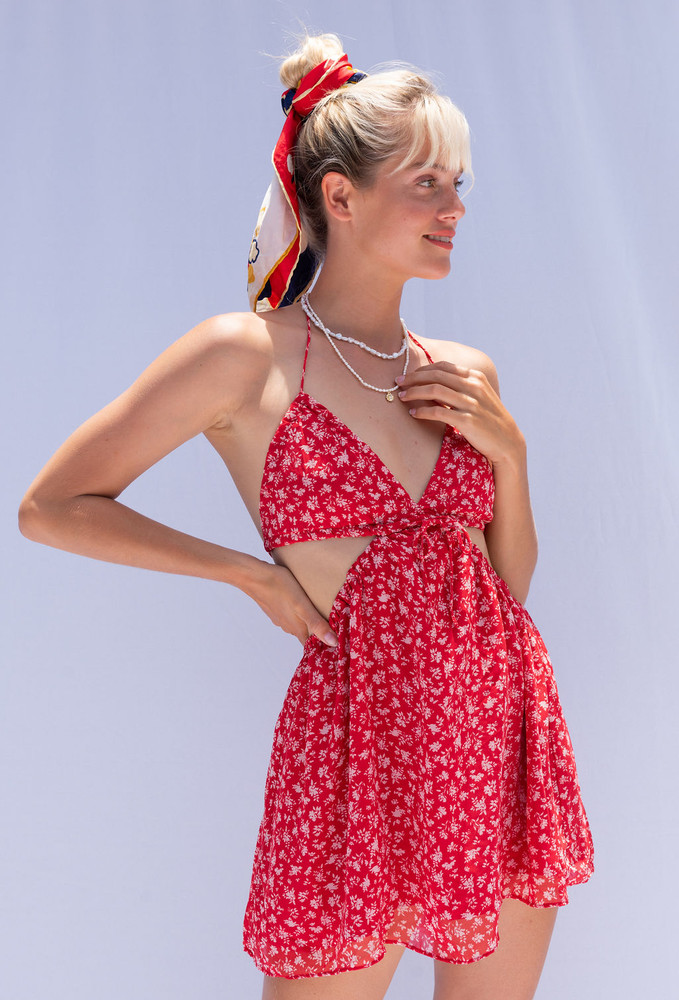 CALIstyle California Girl Mini Dress In Red Floral