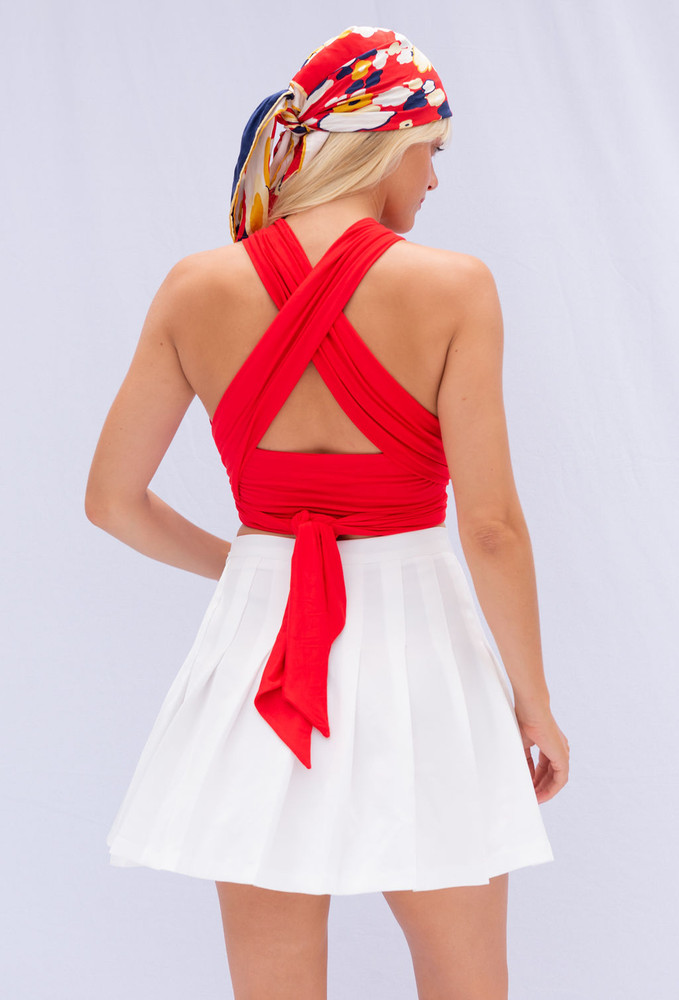 CALIstyle Endless Love Wrap Top In Red