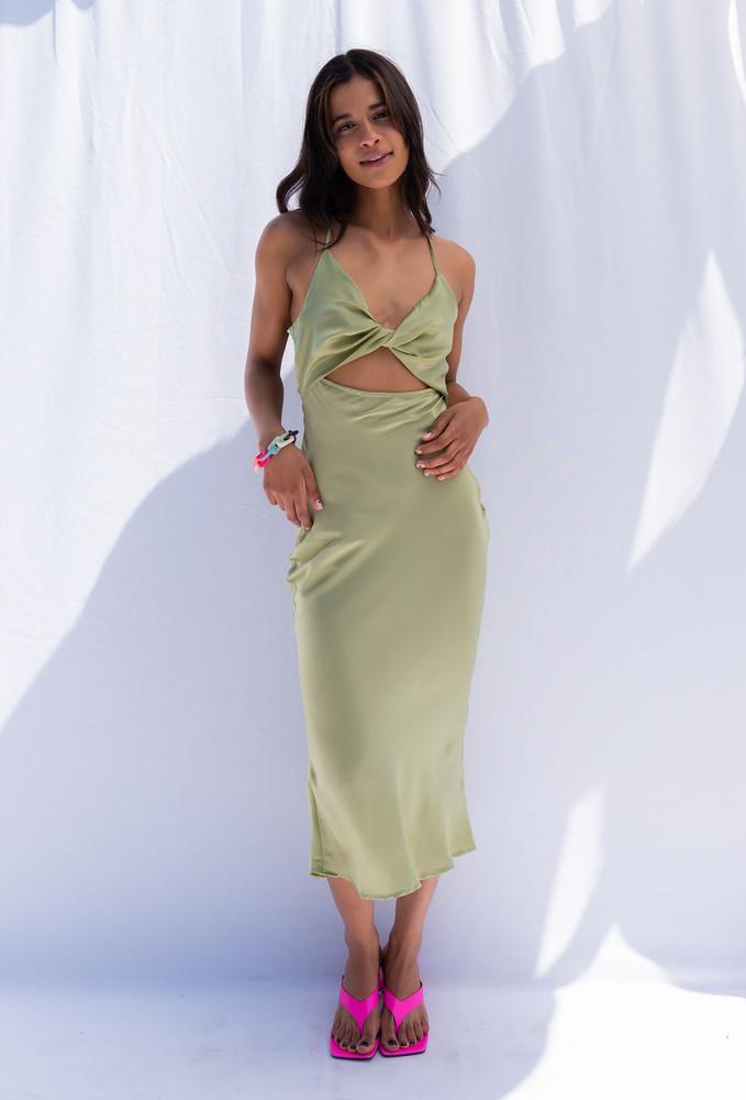 CALIstyle Higher Ground Satin Midi Dress In Sage
