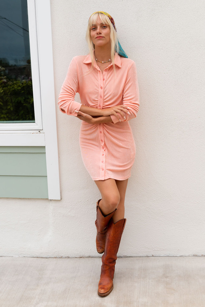 CALIstyle Summer Evenings Ruched Mini Dress In Coral