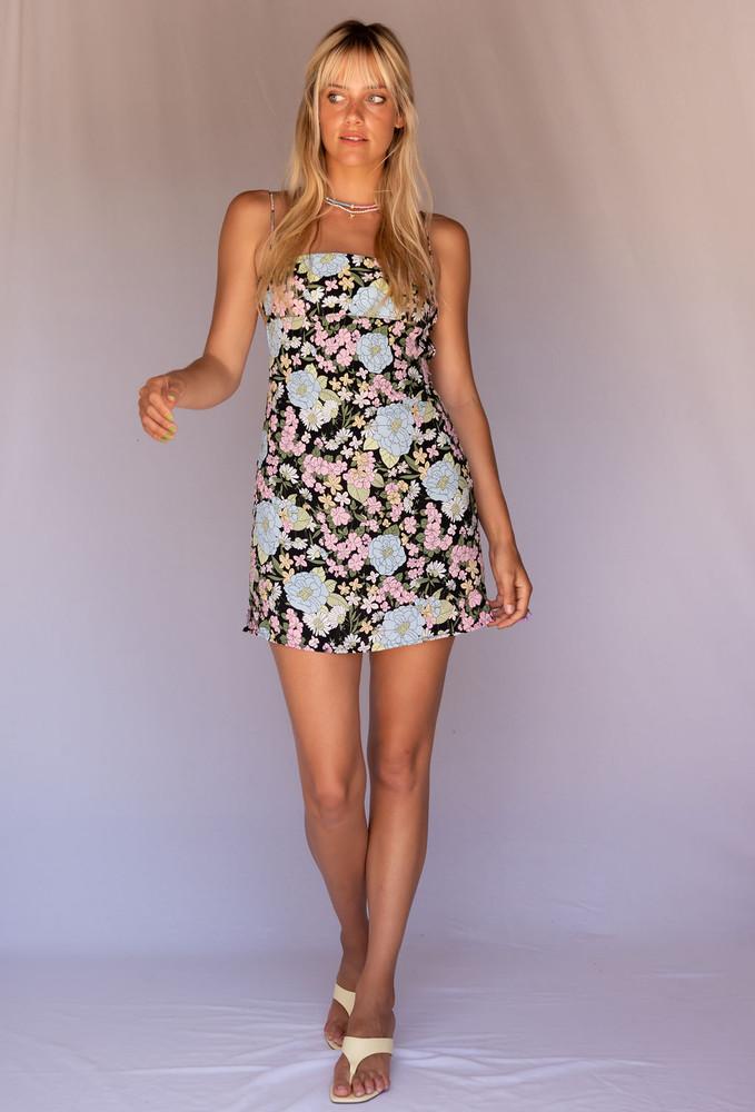 CALIstyle Mod Open Back Mini Dress In Retro Black Floral
