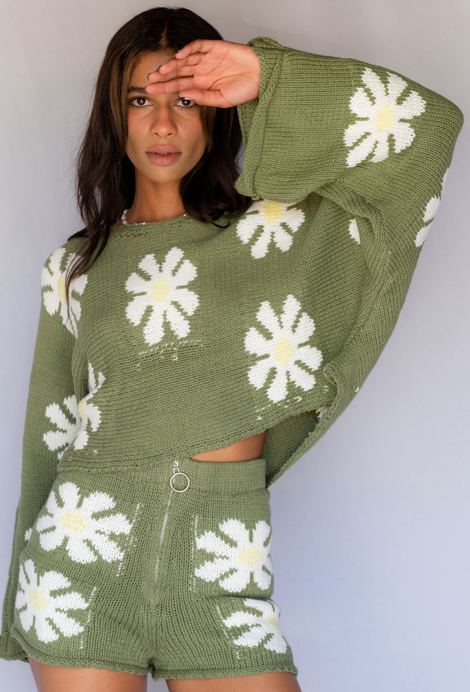CALIstyle Up Your Game Knit Sweater In Olive Green Floral - New Color!