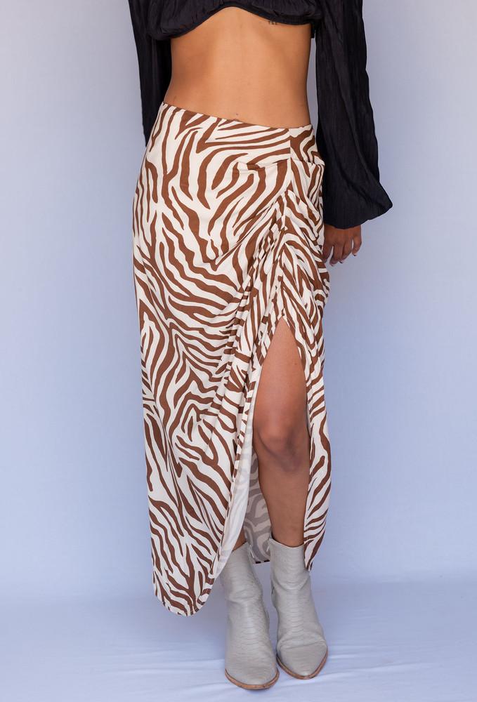 CALIstyle Raven Ruched Midi Skirt In Brown/Zebra Print