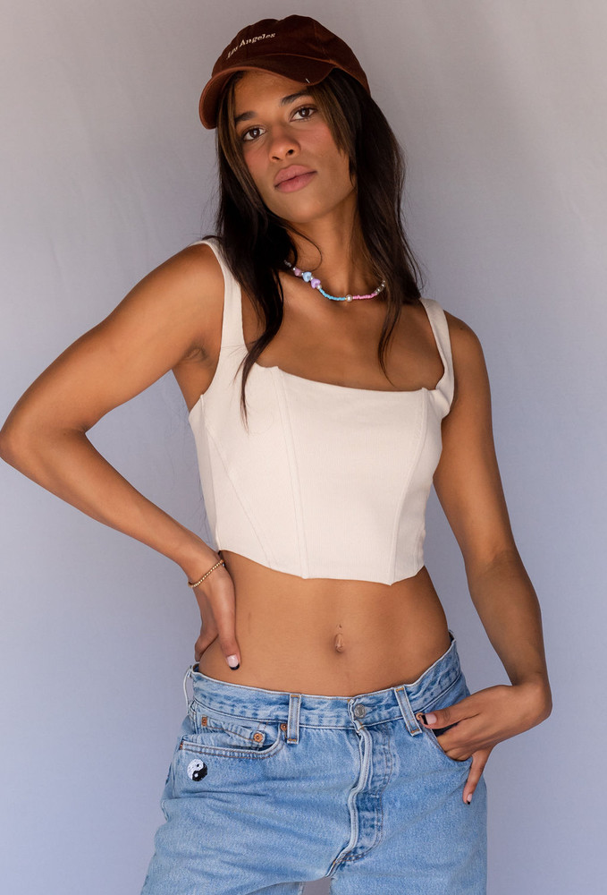 CALIstyle We Love Neutrals Corset Top In Natural