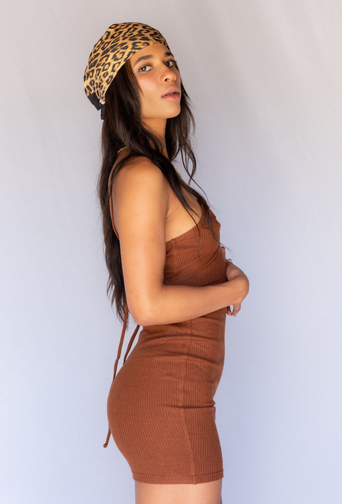 CALIstyle Coco Loco Halter Mini Dress In Chocolate Brown