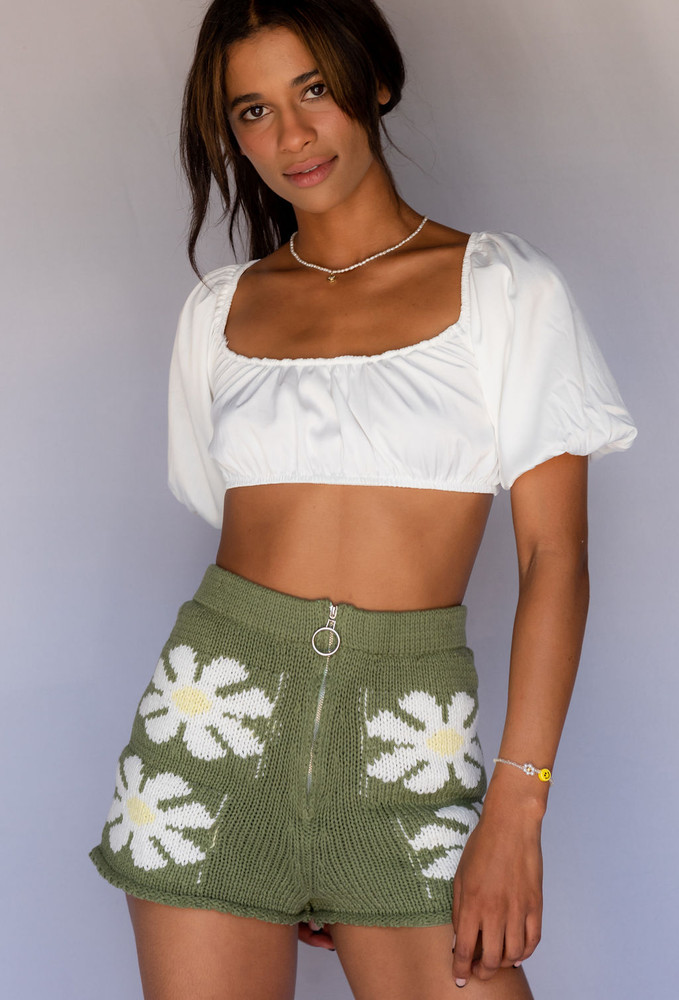 CALIstyle Up Your Game Knit Shorts In Olive Green - New Color!