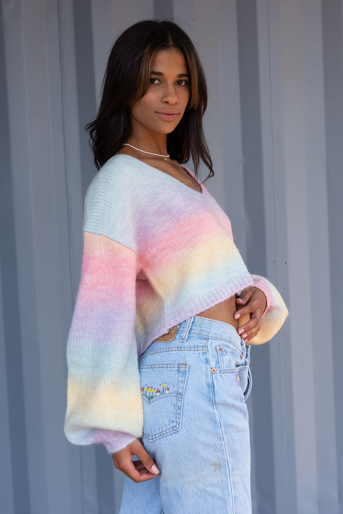 CALIstyle Pot of Gold Sweater in Rainbow Multi