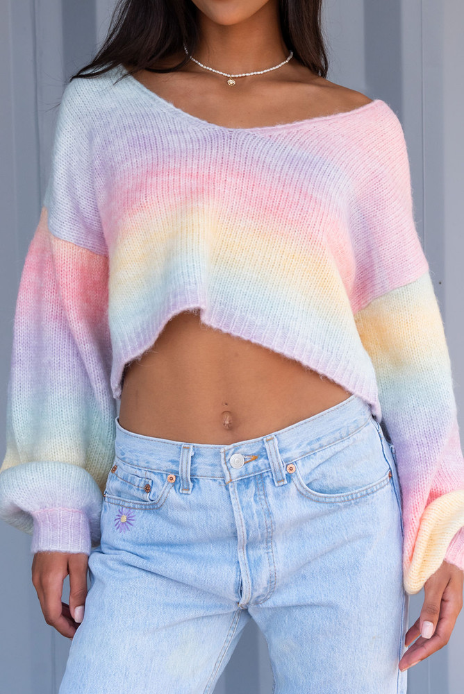 CALIstyle Pot Of Gold Crop Sweater In Rainbow Multi