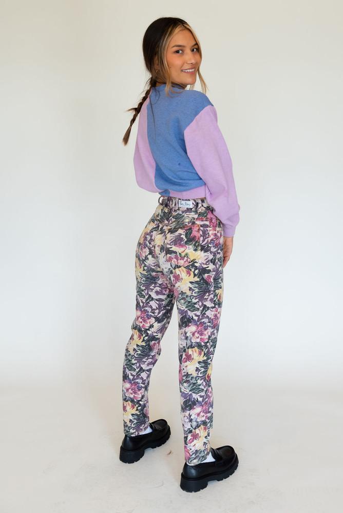 Vintage Paris Blues High Rise Jean In Floral Multi